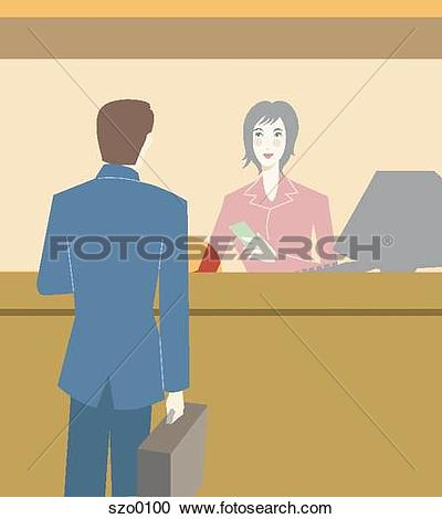 Clipart of bank teller jba0881.