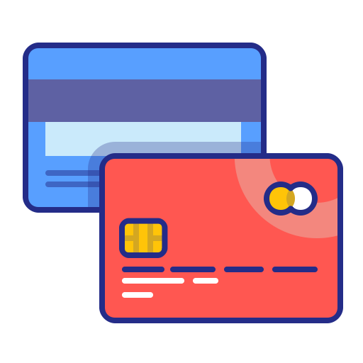 Cards, credit, method, pay, payment, purchase icon.
