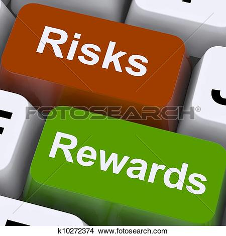 Drawings of Risks Rewards Keys Show Payoff Or Roi k10272374.