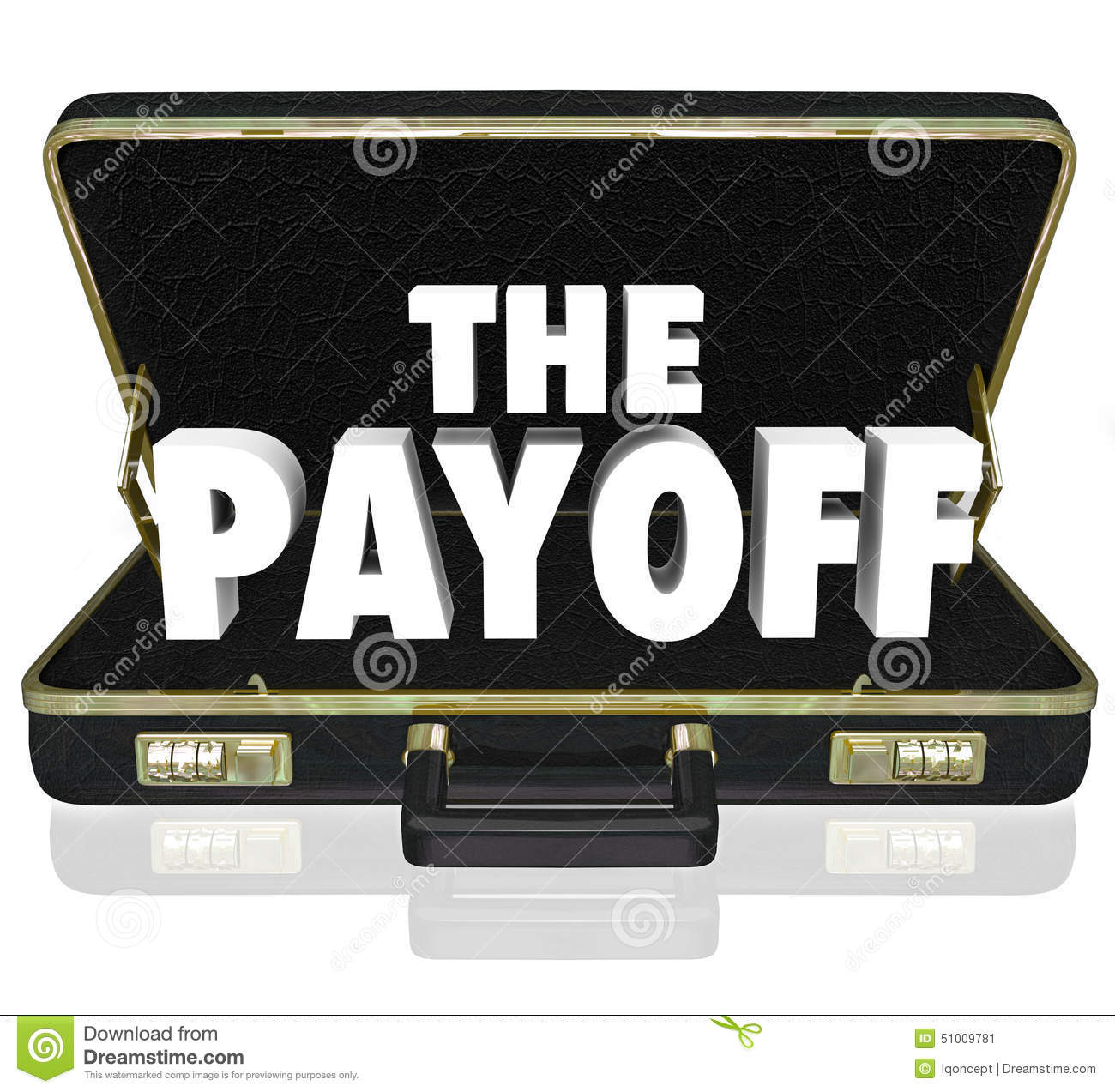Payoff 3d Word Deal Benefit Contract Black Leather Briefcase Stock.