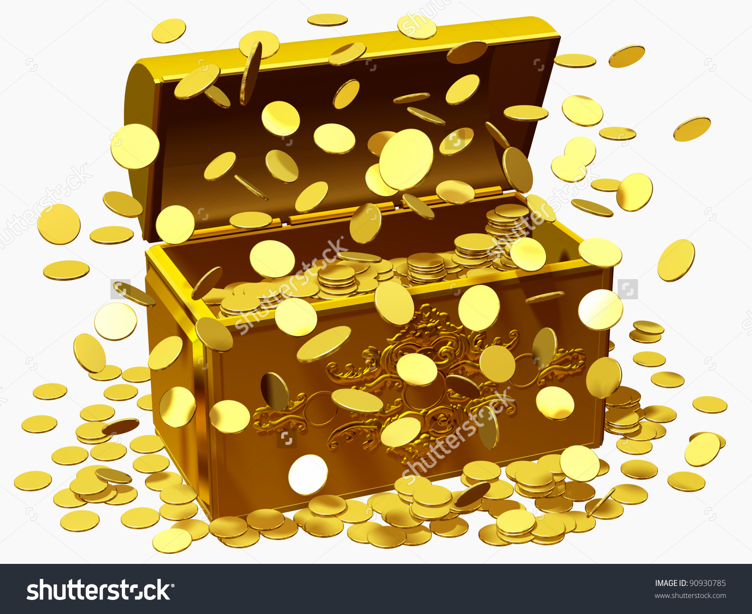 Treasure Box Money Rain Lottery Win Stock Illustration 90930785.
