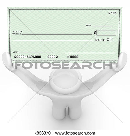 Clipart of Person Holding Large Blank Check Wealthy Payout.