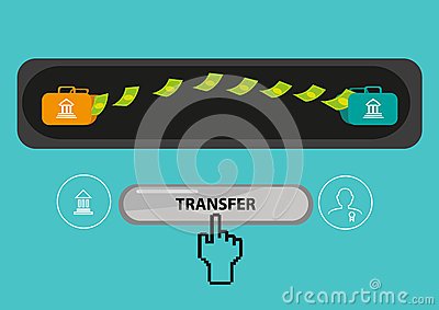 Payout Or Payment Transfer Concept. Editable Clip Art Stock Vector.