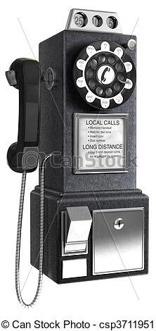 Clipart of 50\'s Pay phone.