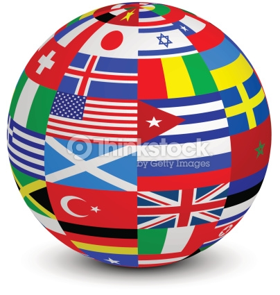 Sphere With World Flags Vector Art.