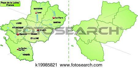 Clipart of Map of Pays de la Loire k19985821.