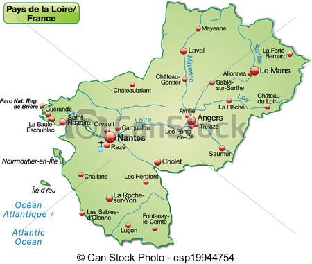 Clipart Vector of Map of Pays de la Loire as an overview map in.