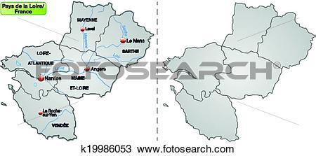 Clipart of Map of Pays de la Loire k19986053.