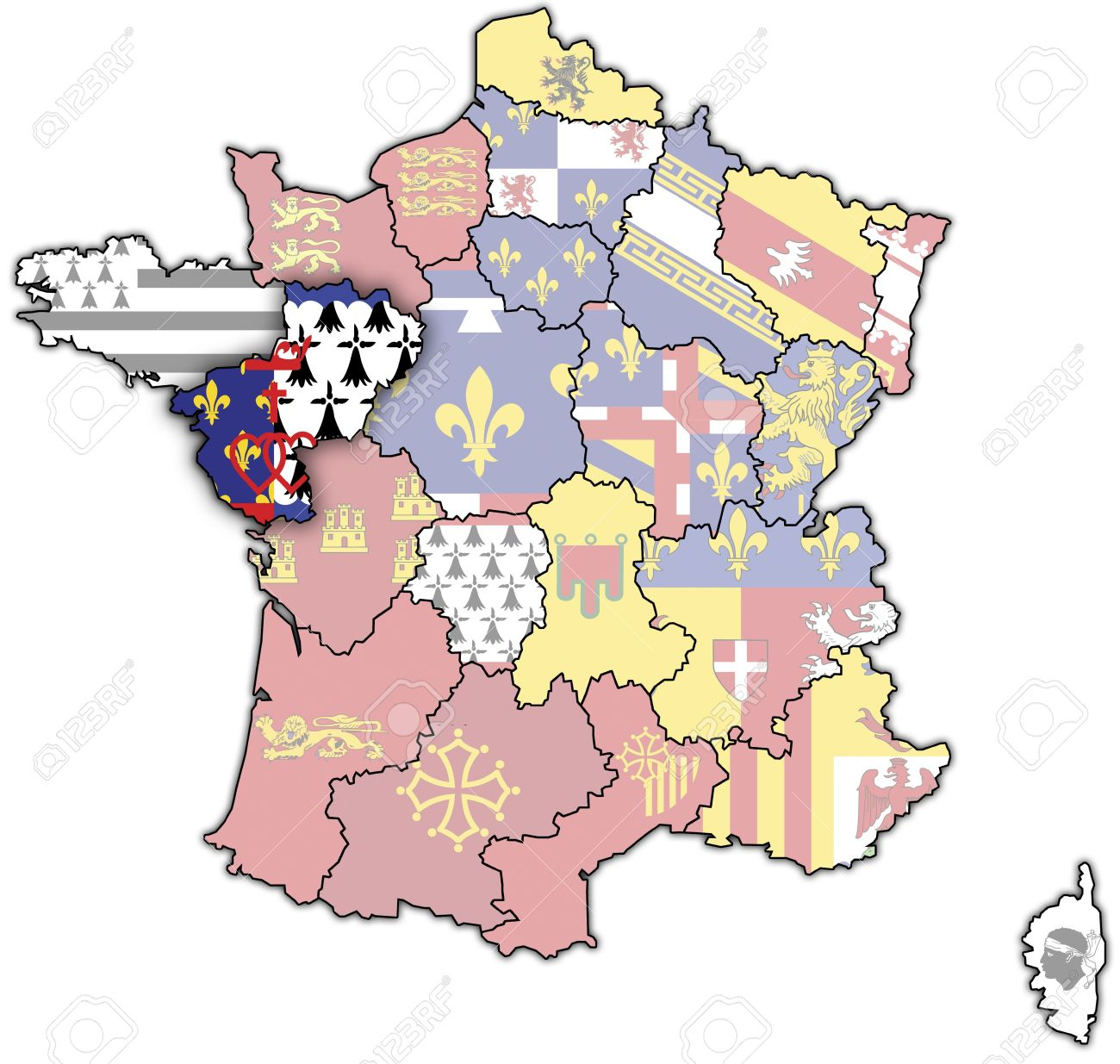 Pays De La Loire On Old Map Of France With Flags Of Administrative.