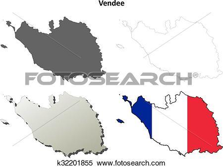 Clipart of Vendee, Pays de la Loire outline map set k32201855.