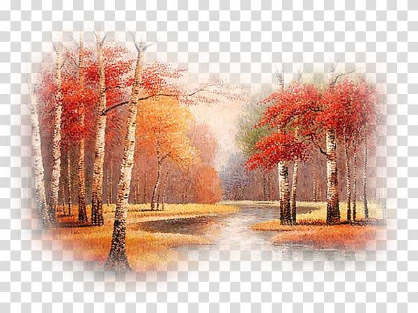 Watercolor painting Landscape Autumn, Paysage transparent.