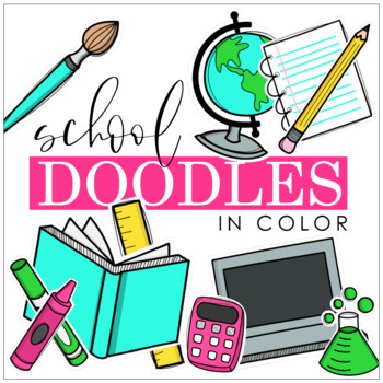 PB School Doodles Clipart in Color.