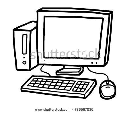 Desktop Computer Clipart Black And White.