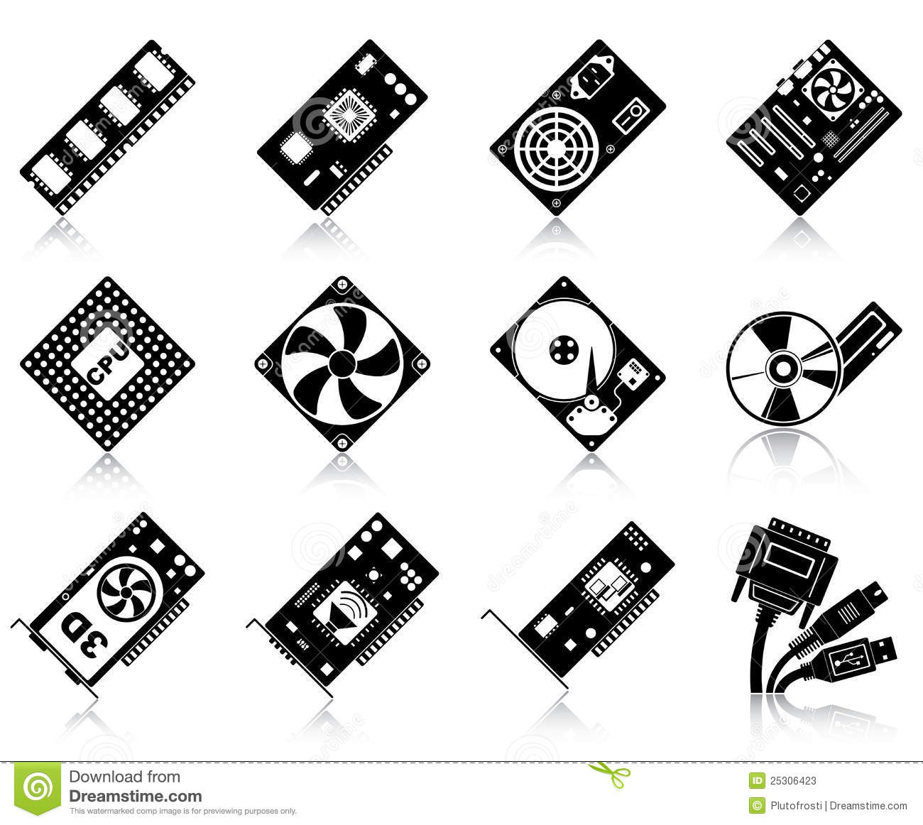Computer Hardware Icons Royalty Free Stock Photography.