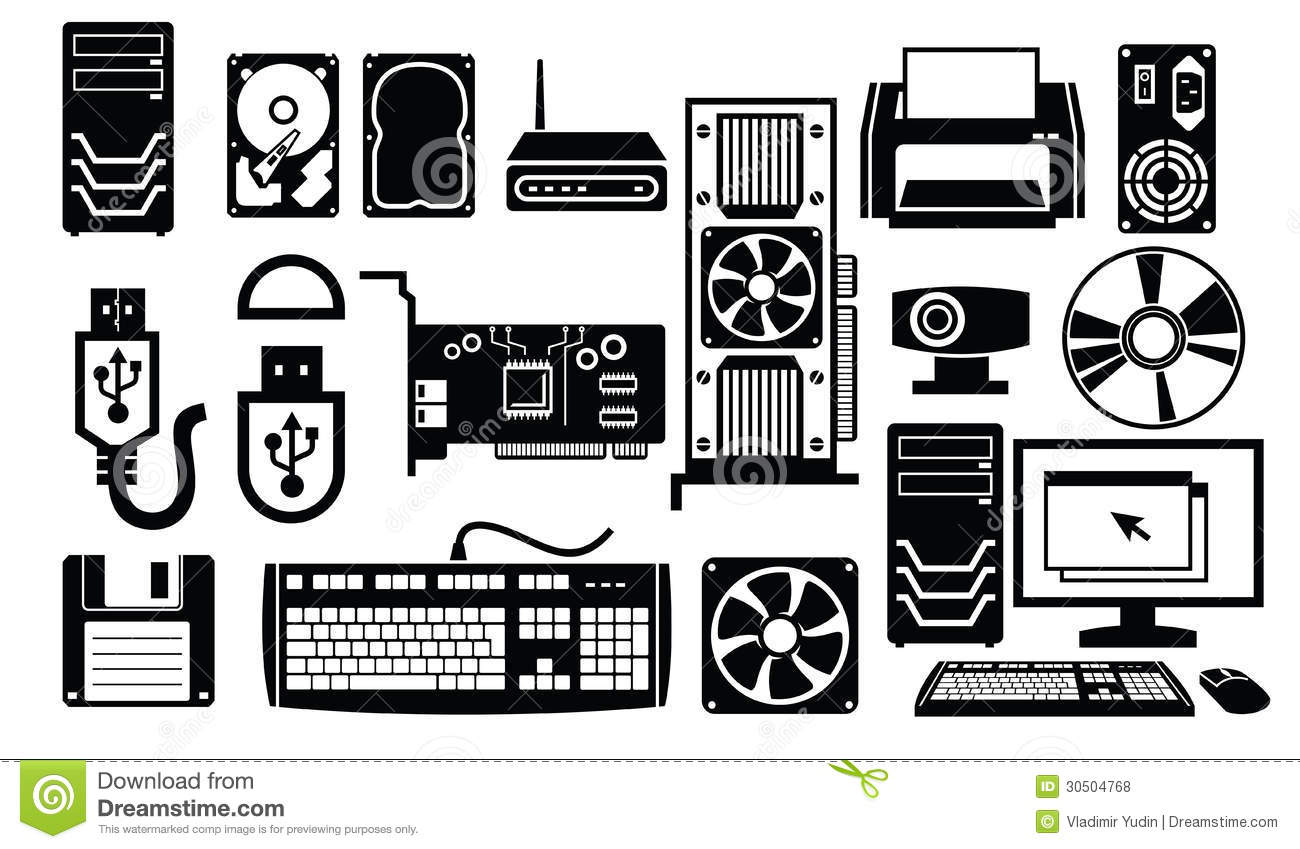 Black and white clipart of computer parts.