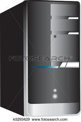 Clip Art of PC computer tower on white k5293429.