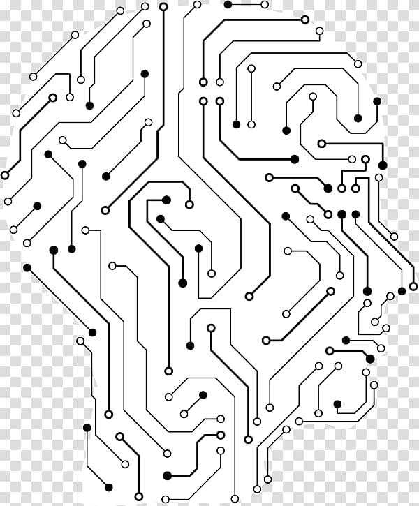 Human head with circuit illustration, Electronic engineering.