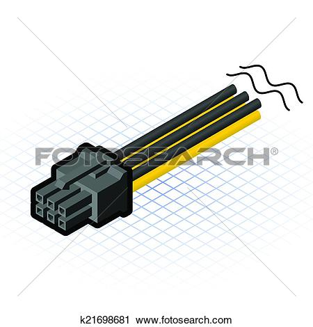 Clipart of Isometric 6 Pin PCIe Connector k21698681.