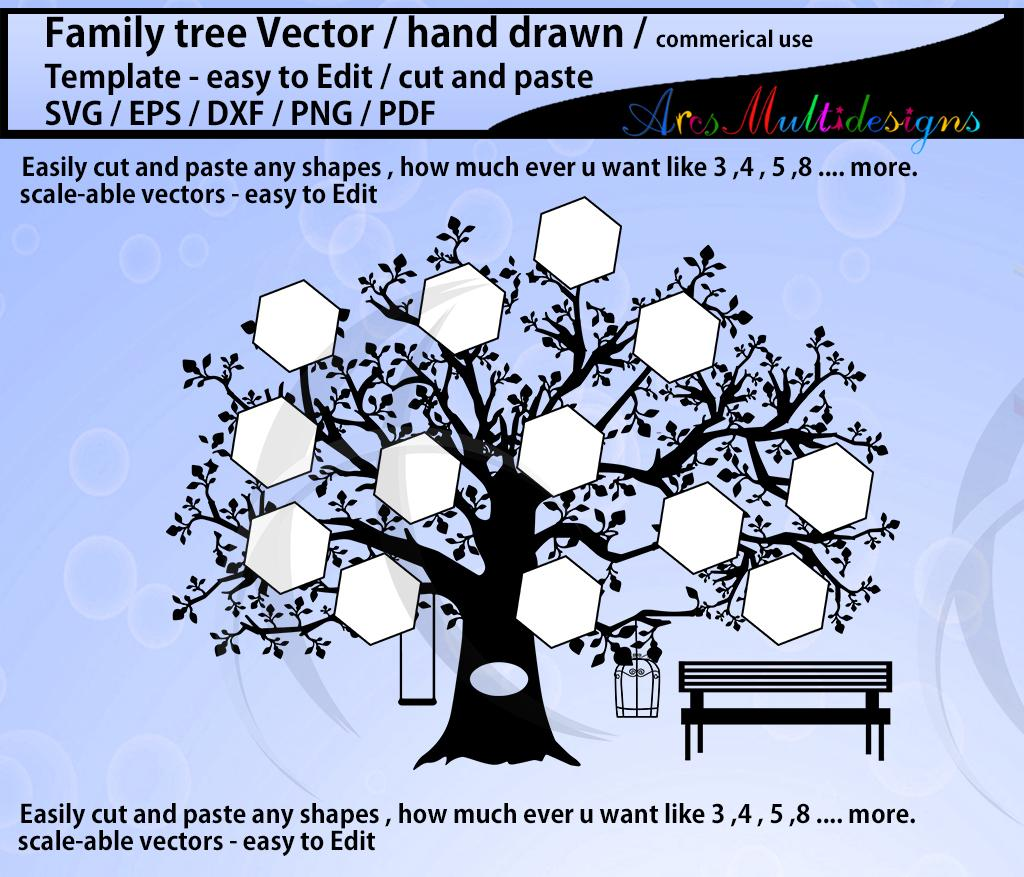 family tree clipart SVG template, EPS, Dxf, Png, Pdf, Jpg /family tree  silhouette /hand drawn tree svg vector.