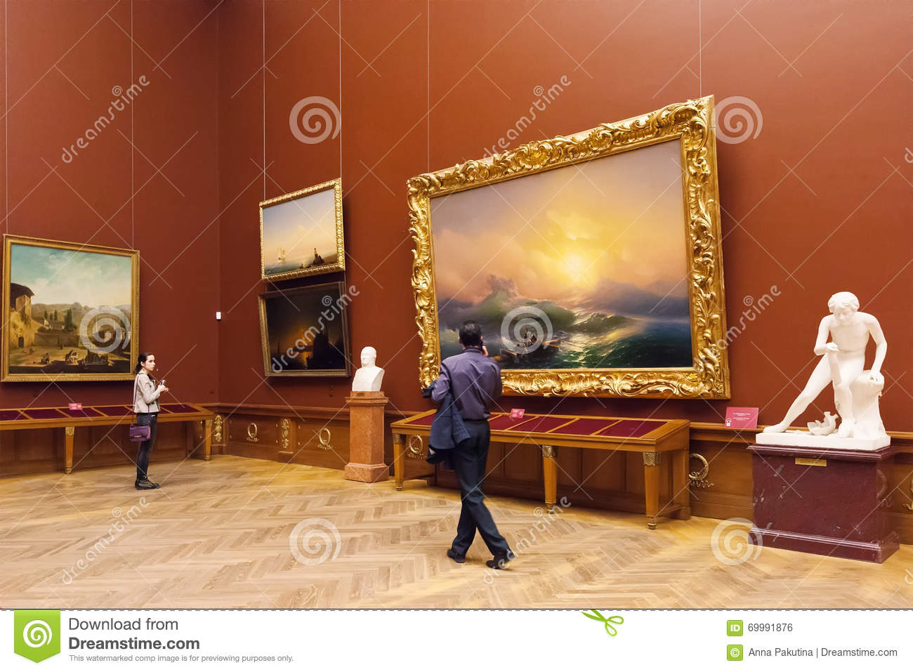 Room With Paintings Aivazovsky In State Russian Museum In St. Pe.