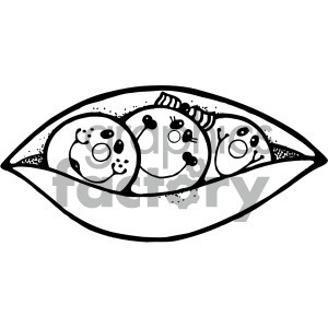 three peas in a pod black white clipart. Royalty.