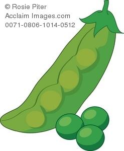 Clipart Illustration of a Pea Pod.