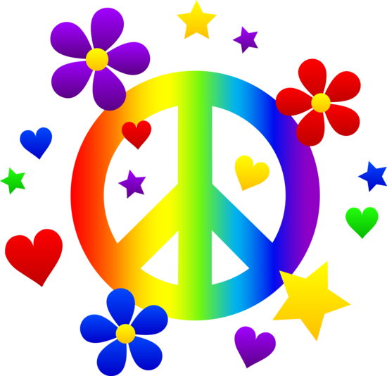 Free clip art of a rainbow peace sign with hearts, stars.