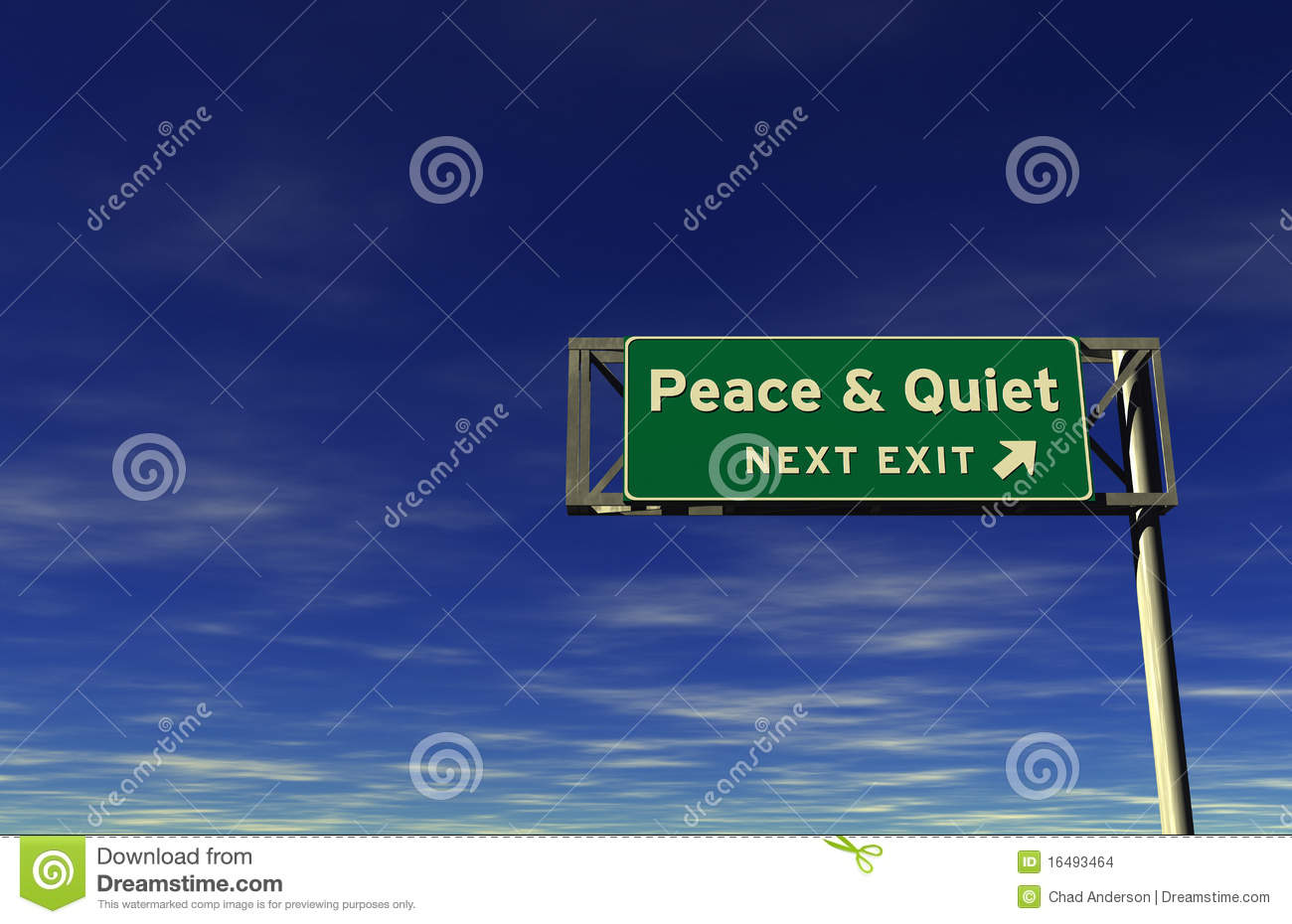 Peace & Quiet Freeway Exit Sign Stock Images.