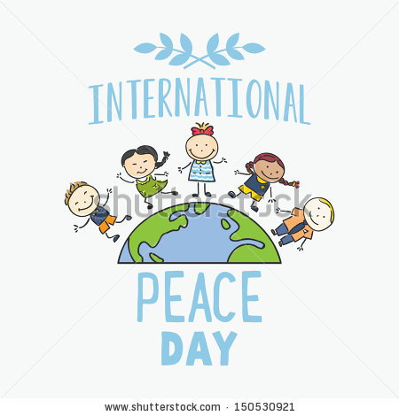 International Day Peace Children Celebrating On Stock Vector.