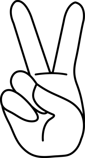 Peace Hand Sign Line Art.