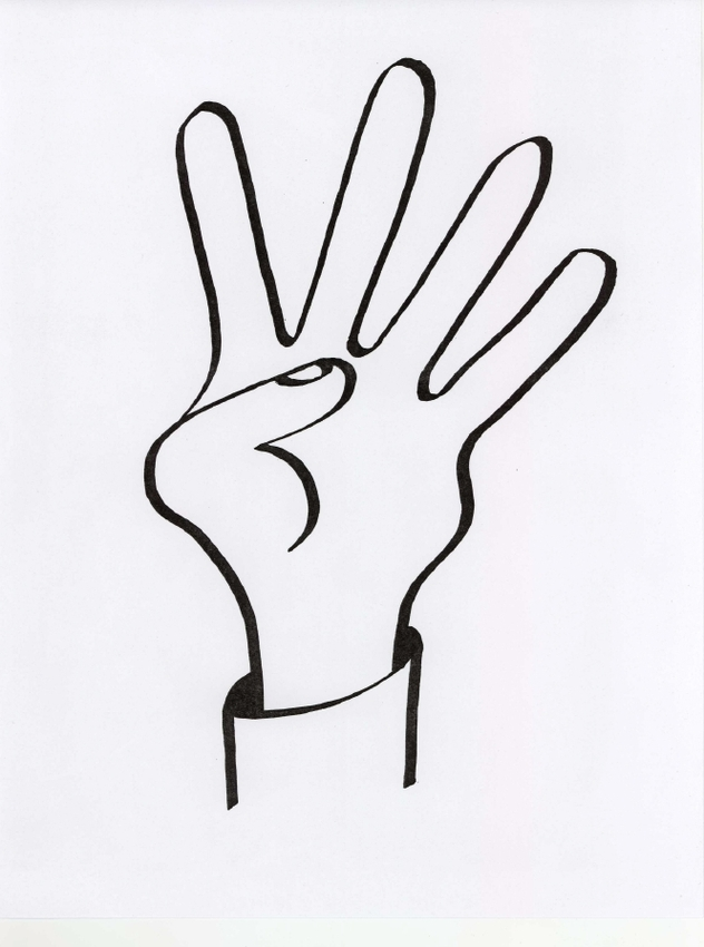 Peace Fingers Flag Coloring Clipart.