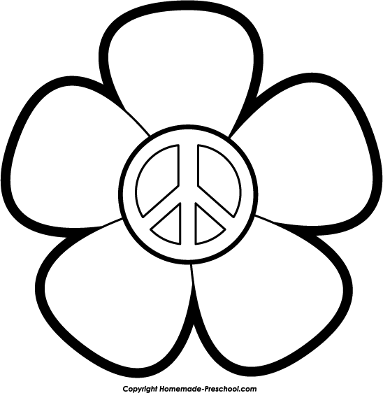 Peace Sign With Flowers Clipart.