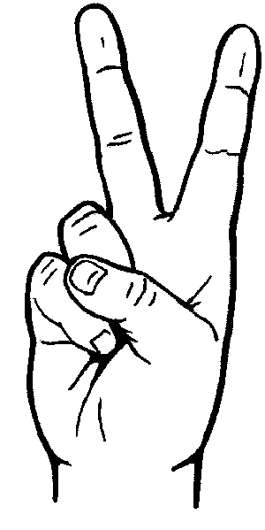Hand Peace Sign Clipart.