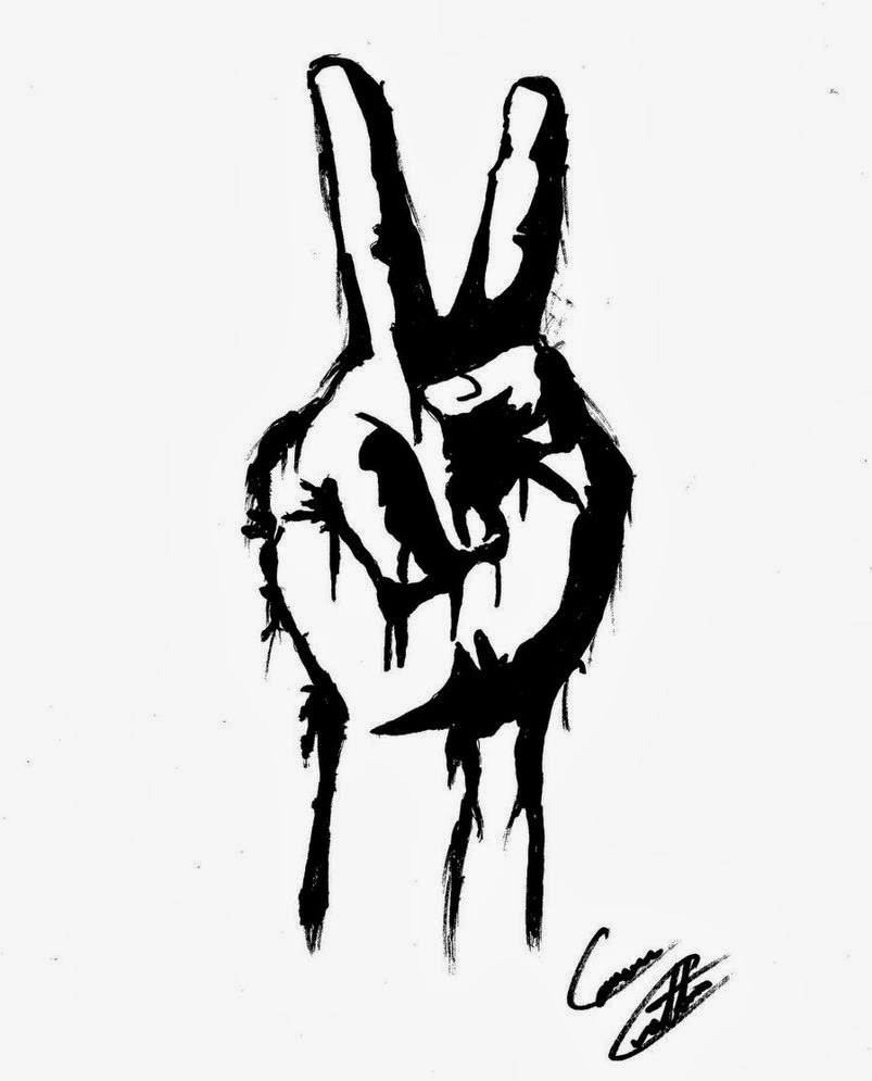 Cartoon Peace Sign Hand.