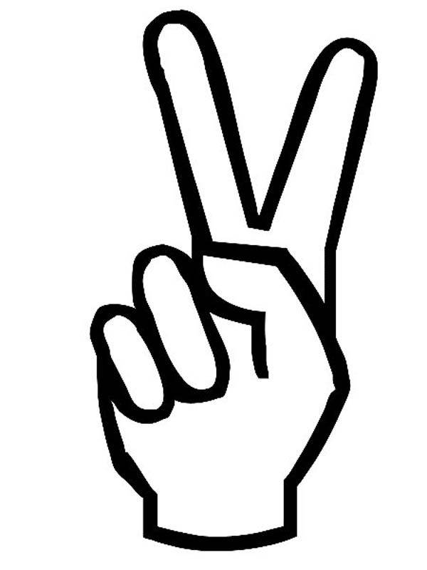 Peace Hand Sign Coloring in.
