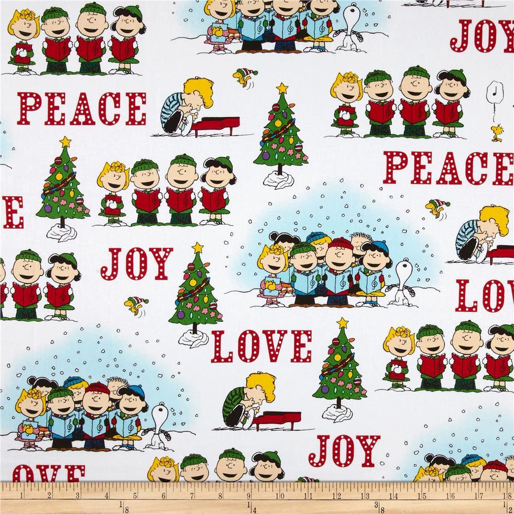 Peanuts Peace*Love*Joy Peace Love Joy Caroler Vignettes White.