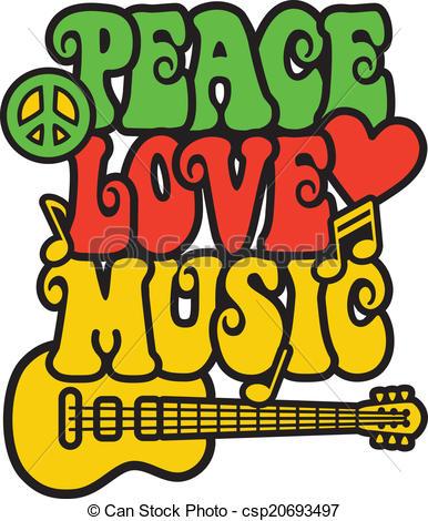 Peace Love Music in Rasta Colors.
