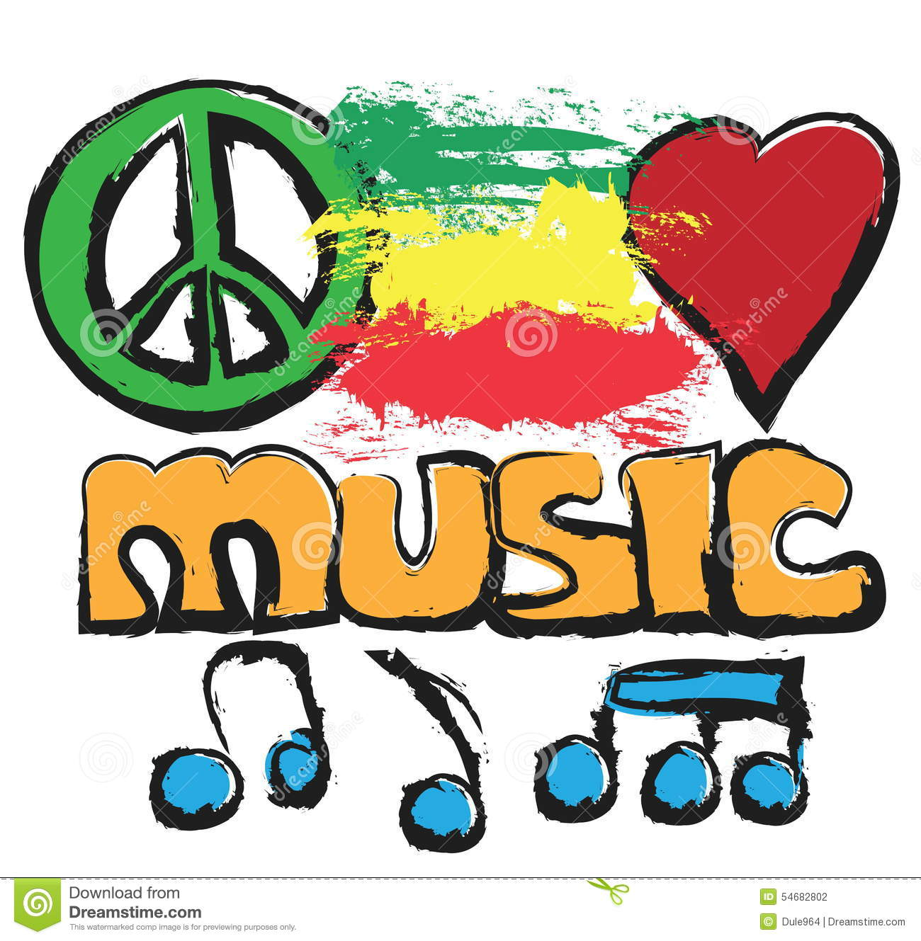 Doodle Love, Music, Peace Background Stock Illustration.