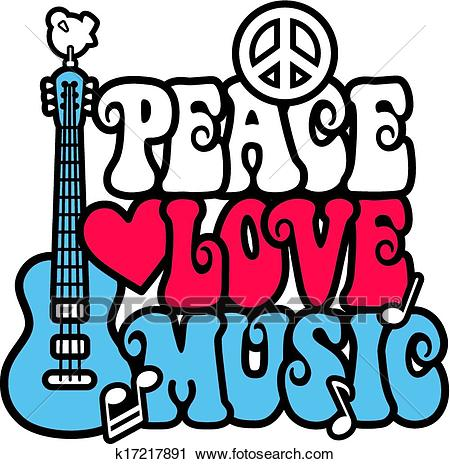 Peace Love and Music Clipart.