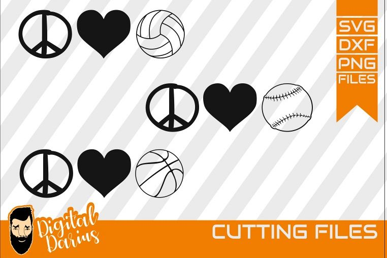 3x Peace love volleyball baseball basketball Svg, Hobby dxf,.