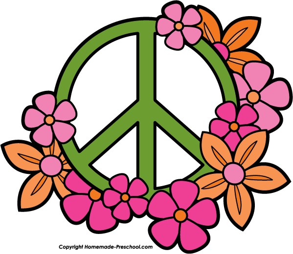 peace sign with flowers clipart #19