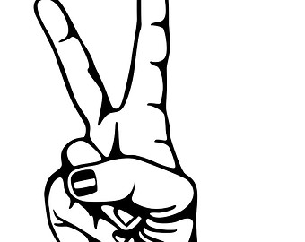 Hand Peace Sign Drawing.