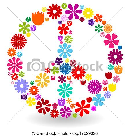 Vector Illustration of Peace sign made of flowers.