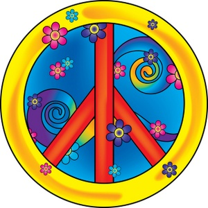 peace sign with flowers clipart #4
