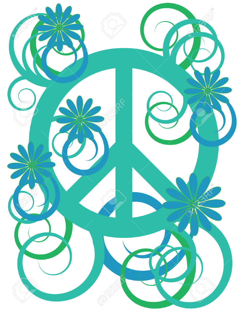 Flower Power Peace Sign Royalty Free Cliparts, Vectors, And Stock.