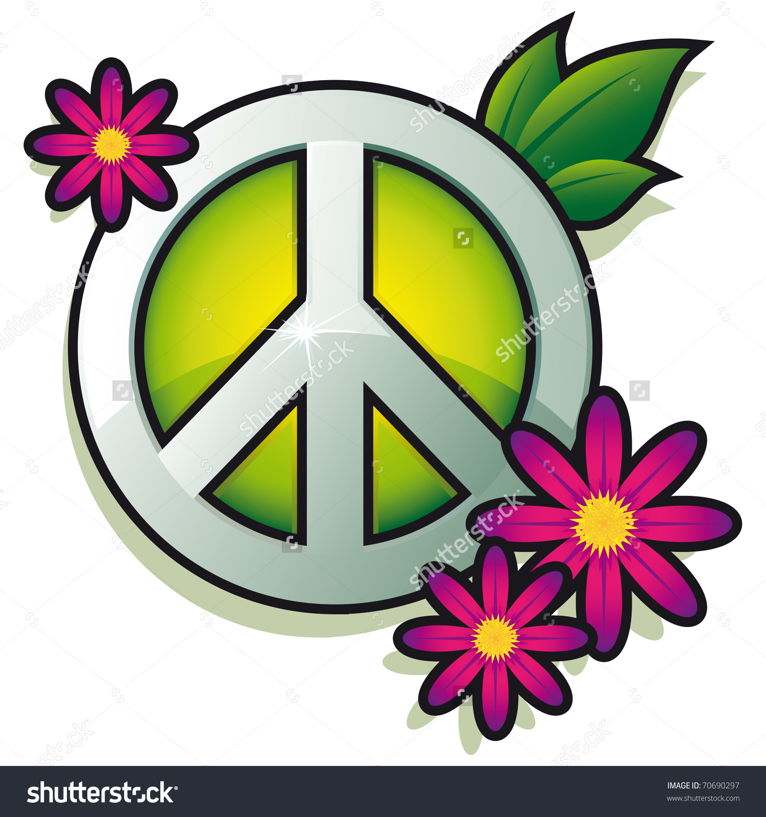 Peace Sign Pink Flowers Isolated On Stock Vector 70690297.