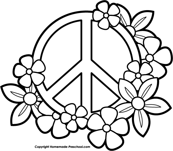 Peace Sign With Flowers Clipart Clipground