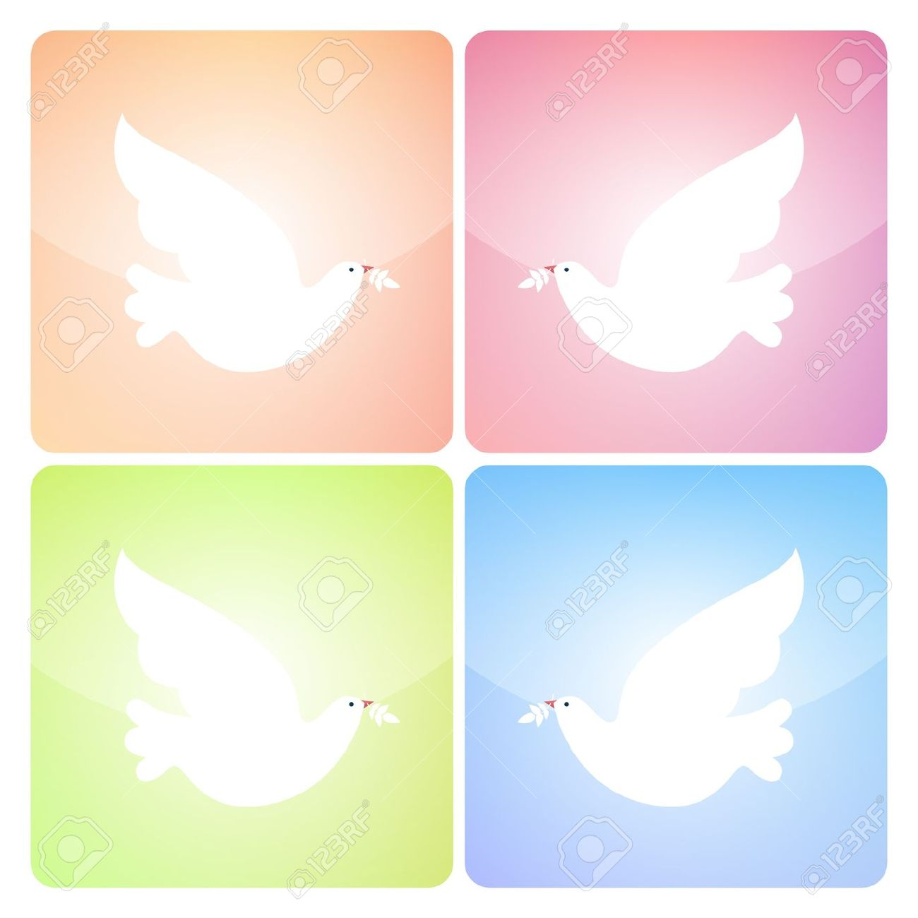 Four Square Peace Dove Icons In Four Colors Royalty Free Cliparts.