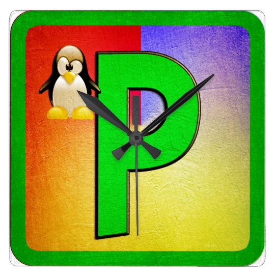 Alphabet Letter P Square Wall Clock.