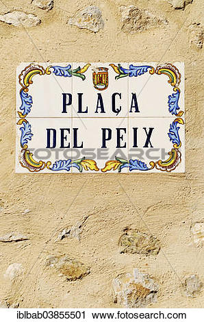 """Stock Photography of """"Placa del Peix, """"""""""""""""peace square"""""""""""""""" in."""